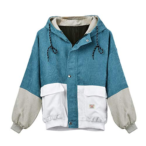 Coats Damen, Kimodo Neu Frauen Langarm Cord Patchwork Oversize Jacke Windbreaker Mantel (Blau, S)