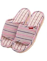 GR Pantoufles de lin et de coton, pantoufles pour hommes et femmes, pantoufles de lin sans glissement, sandales maison
