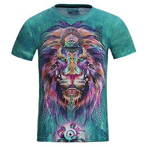 O-hanghui 3D T-Shirt Männer/Frauen Lion Sommer Tops T-Stücke T-Shirts