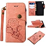 Sony Xperia XA1 Protective Case, UNEXTATI Vintage Rose Pattern Stand PU Leather Flip Cover, Wallet Case Cover With Hand Strap For Sony Xperia XA1 (Pink)