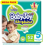 Babyjoy Compressed Diamond pad Diaper, Mega Pack Junior Size 5, Count 52, 14 - 25 KG