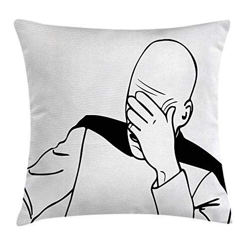 AHENANY Humor Decor Throw Pillow Cushion Cover, Captain Picard Face Palm Troll Guy Meme Caption Super Fun Online Illustration, Decorative Square Accent Pillow Case, 18 X 18 Inches, Black White