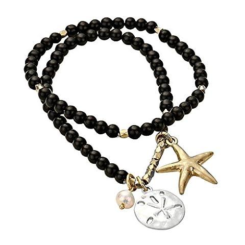 Rosemarie Motif étoile de mer Collections Femme de Dollar de sable charme Bracelet élastique à perles Noir
