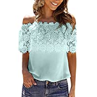 HOTSELL-Clothing Tops for Women~HOSTELL〔☀ㄥ☀〕Lady Off Shoulder Tee Tunic Tops Summer Short Sleeve Applique T-Shirt Pullover Casual Blouse