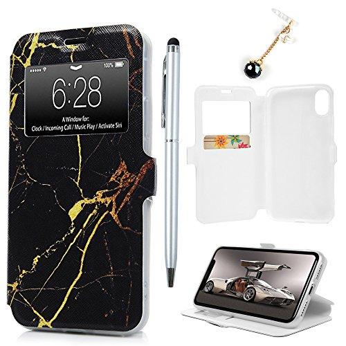 Badalink Hülle für iPhone X Flamingo Handyhülle Leder PU Buntes Schutzhülle Magnet Flip Case mit Smart Windows und Kartensteckplätzen und Ständer Handytasche mit Eingabestifte Schwarzes Marmormuster