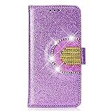 SainCat Custodia Galaxy S7, Custodia Libro Bling con Strass Diamante Cover con Specchio Portafoglio Glitter Shock-Absorption Pelle Flip Cover per Samsung Galaxy S7-Porpora
