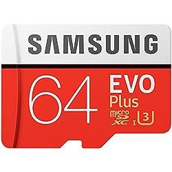 Samsung EVO Plus Micro SDXC 64 Go jusqu'à 100 Mo / s, Carte mémoire ( l'adaptateur SD) [Emballage gratuit Amazon Frustration]