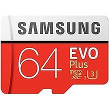 Samsung EVO Plus - Tarjeta de memoria microSD de 64 GB con adaptador SD, 100 MB/s, U3, color rojo y blanco