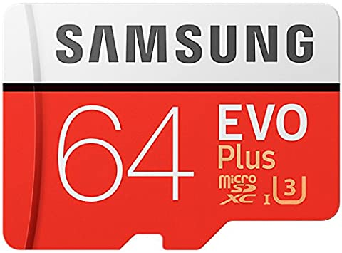 Samsung EVO Plus Micro SDXC 64GB bis zu 100MB/s, Class 10 U3 Speicherkarte (inkl. SD Adapter) [Amazon Frustfreie