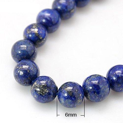 Strang 32+ Blau Lapislazuli 6mm Rund Perlen - (HA02332) - Charming Beads
