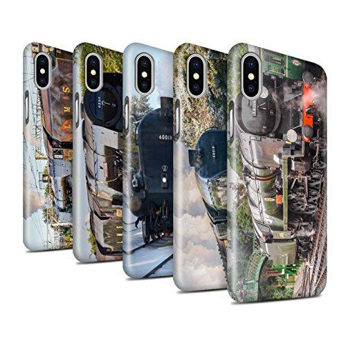 STUFF4 Glanz Snap-On Hülle / Case für Apple iPhone X/10 / Dominion NZ/Blau Muster / Dampflokomotive Kollektion Pack 20pcs