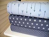 Qjutie Lottashaus no145 Jersey Stoffpaket 3 Stück 50x70cm Blau Grau Sterne Pfeile Baumwolljersey Kinder Kleidung Stoffe