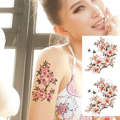 Tzxdbh 5pcs indiani autoadesivi provvisori del tatuaggio del hennè del giglio arabo fiori impermeabili del tatuaggio della spalla del braccio dei fiori della rosa