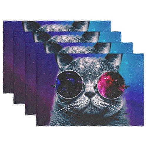 baihuishop Abstrakt Nebel Universe Starry Katze Cool Sonnenbrille 30,5x 45,7cm Tischsets Esstisch Matten für Home Küche Büro