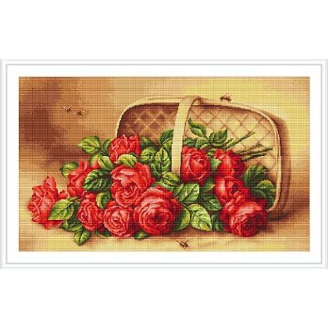 Luca-S - Juego de punto de cruz, diseño de cesta con rosas
