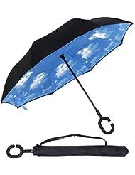 UMmaid Doble capa de Paraguas Invertido, Parasol de Protección Contra el Viento Ultravioleta de Reversa con Mango en Forma de C Para el Coche de Viajes al Aire Libre (Cielo Azul)