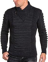 BLZ jeans - Pullover homme gris col châle zippé