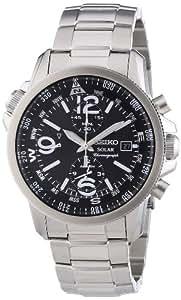 Seiko - SSC075P1 - Solar - Montre Homme - Automatique Chronographe - Cadran Noir - Bracelet Acier Gris