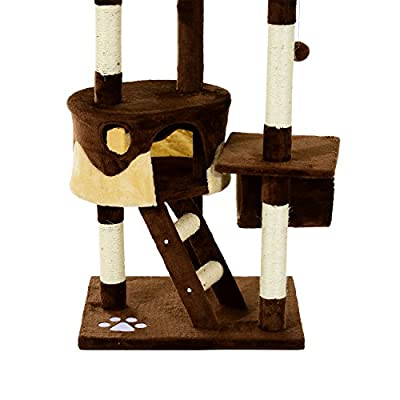 Pawhut Cat Tree Scratching Post Activity Centre Sisal Kitten Tree Scratch Scratcher Play Toy Climbing Tree Bed Multi Level 240-260cm High