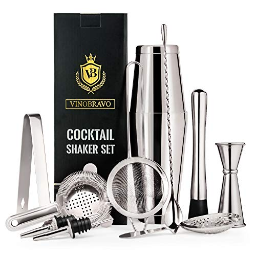 11-Teiliges Boston Cocktailshaker Bar Set von VinoBravo: 2 gewichtete Cocktail Shaker, Barsieb-Set, Doppeljigger, Barlöffel, Barstößel & Tong, 2 Spirituosenausgießer & Cocktailrezeptbuch Stil Cocktail-shaker