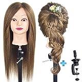 ErSiMan Frisierkopf, weiblich, mit 100% Menschenhaar, 50,8 cm, zum Flechten von Haaren, Friseur-Übung, Puppenkopf mit Klemme