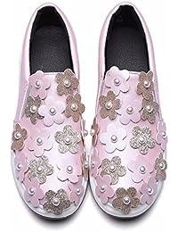 Schuhe für grosse Frauen, drei-dimensionale Blumen, Brot Schuhe, Pearl, flache Unterseite, Student, Damenschuhe, Pink, 38