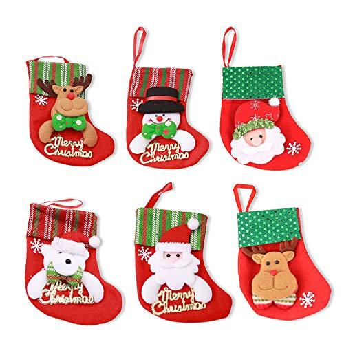MMTX 6 Pz Mini Calze di Natale, Babbo Natale Pupazzo di Neve Alce Orso Modello Decorazione Albero di Natale Caramella Regalo Decorazione di Natale (Stile Lettera)