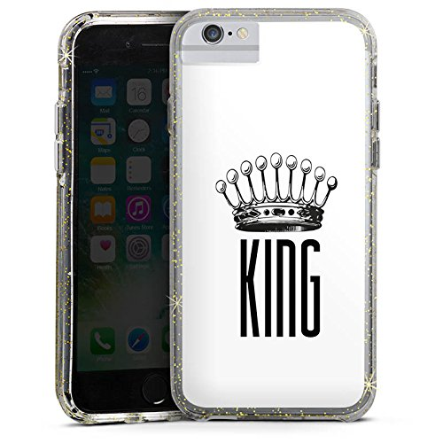 Apple iPhone 6 Plus Bumper Hülle Bumper Case Glitzer Hülle King Krone Statement Bumper Case Glitzer gold