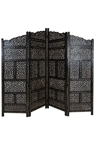 Orientalischer Paravent Raumteiler aus Holz Saraswati 200 x 180cm hoch in Braun | Indischer Trennwand als Raumtrenner oder Dekoration im Zimmer oder Sichtschutz im Garten, Terrasse oder Balkon