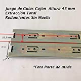 Guia Cajón Altura45 mm Extracción Total + Rodamientos Sin muelle (H45- Largo 1000mm)