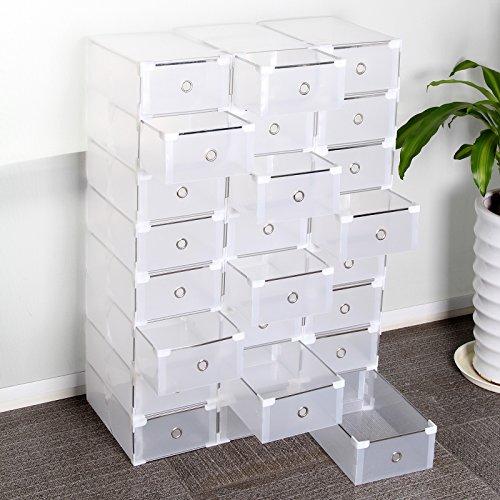 Multiware Lot de 24boîtes de rangement à chaussures pliables et empilables, tiroirs en plastique transparent