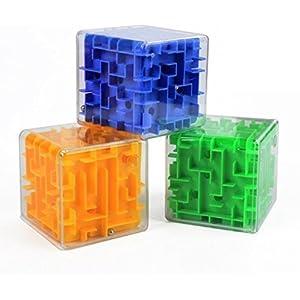UChic 3 STÜCKE Mini 3D Dreidimensionale Zauberwürfel Labyrinth Würfel Gehirnsturm Spielzeug Rolling Ball Balance Denkaufgabe Erwachsene Spielzeug Kindheit Pädagogische Intelligenz Spielzeug Farbe Zufällig