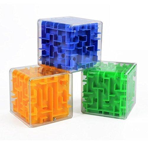 UChic 3 STÜCKE Mini 3D Dreidimensionale Zauberwürfel Labyrinth Würfel Gehirnsturm Spielzeug Rolling Ball Balance Denkaufgabe Erwachsene Spielzeug Kindheit Pädagogische Intelligenz Spielzeug Farbe Zufällig Twist Stricken Nadeln