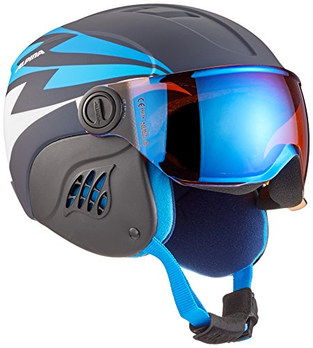 ALPINA Jungen Carat Le Visor HM Skihelm, Nightblue-Denim matt, 54-58 cm