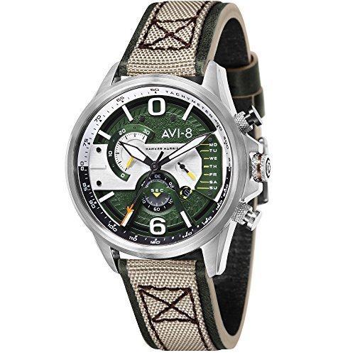 Montre Homme - AVI-8 - Hawker Harrier II - Chrono -Jour - Date - Cuir - AV-4056-02