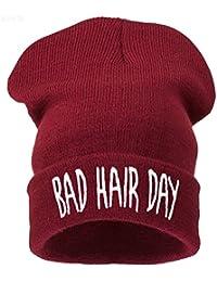 Men's Women's Beanie Hat Winter Warm Black Bad Hair Day Fun