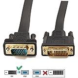 Active DVI auf VGA, YIWENTEC DVI 24 + 1 DVI-D M auf VGA männlich mit Chip flach Kabel Adapter Converter für PC DVD HDTV Monitor 2 m tiefschwarz