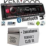 Renault Clio 3 - Kenwood KDC-BT510U - Bluetooth CD/MP3/USB Autoradio - Einbauset