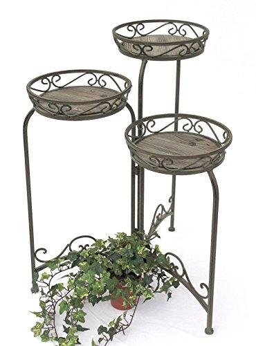DanDiBo Blumentreppe Metall Rund 72 cm Blumenständer mit 3 Körbe 11136 Blumenständer Blumensäule Pflanzenständer Holzablage