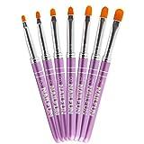 NAILFUN High Quality Pinselset - 7 teilig - lila pink aus Aluminium mit Strasstein Besatz für Nageldesign mit Gel Acryl und Fiberglas