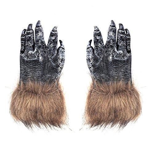 Halloween Handschuhe Werwolf aus Silikon Ein Paar Wolf Pfote Cosplay Kostüm Dekoration Tiertatzen Fantasie Haarige Monster-Hände Unisex Werwolf Hände One Size Handschuhe für Frauen Männer (Kostüm Wolf Hände)