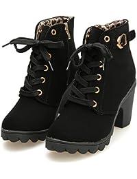 Femmes Automne Hiver Bottes De Neige Cheville Chaudes Fourrure LaçAge Chaussures  Plates à Talon Bottes à 471e9ff104b5
