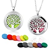 [2 Pack] BRIGHTSHOW Aromatherapy Essential Oil Diffuser Necklace-Stainless Steel Tree of Life Locket Pendant,10 Refill Pads (Life Tree-N-Silver)