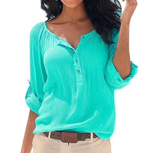 SUNNOW Damen New Mode Langarmshirts V-Ausschnitt Einfarbig Bluse Locker Basic Casual T-Shirt Oberteil (M, Grün)