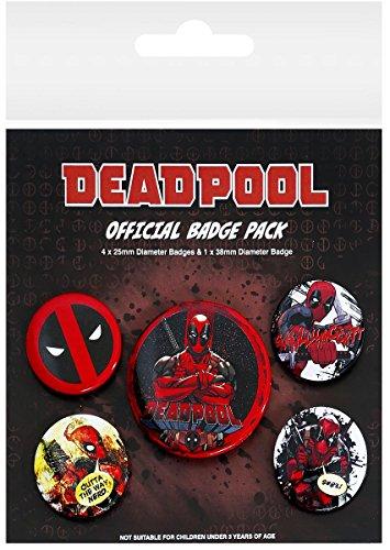 Deadpool serie di 5 pin badge pacchetto di animazione film ufficiale Marvel