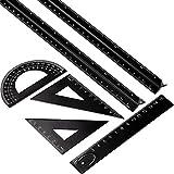 6 Pezzi Triangolare Scala Righello Set in Alluminio, 2 Pezzi 12 Pollici Alluminio Scala Righello con 4 Pezzi Alluminio Triangolo Righello Quadrato Set per Architetti, Disegnatore