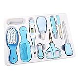KEISL 10 PIEZAS Kit de cuidado de la salud del bebé,Estuche de Cuidados y Salud Para Bebés,seguro y conveniente herramienta de uñas, tijeras para el pelo, juego de peluquería. (10 pcs, azul)