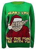 F B-Herren Weihnachten Jumpers, Star wars Unisex Darth Vader Yoda Santa's Jumper S-XL (M/L, Grün)