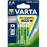 Varta Téléphone batterie Accu Mignon AA Ni-Mh (2-Pack, 1600 mAh, adapté pour les téléphones sans fil)