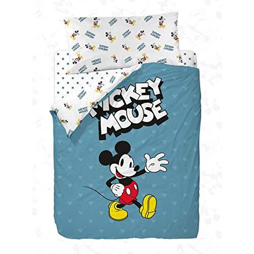 Disney Mickey 90's Blue Funda Nórdica de 3 Piezas para Cama, Cotton, 90